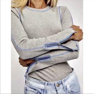Free People zipper cuffs thermal top Sz Large